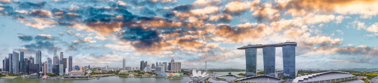 Panoramic view of buildings against sky during sunset