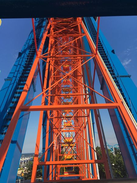 Cedar Point Architecture Blue And Orange Built Structure Engineering Faris Wheel Metal Outdoors