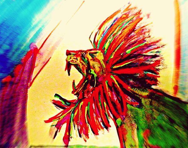 My Artwork^-^ Watercolor Painting Lion Neon ROAR!