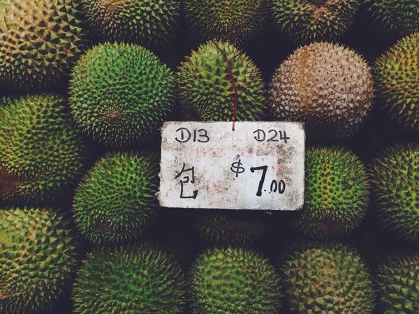 Durians for sale at a fruit stall Fruits Tropical Fruits Market Bestsellers May 2016 Bestsellers
