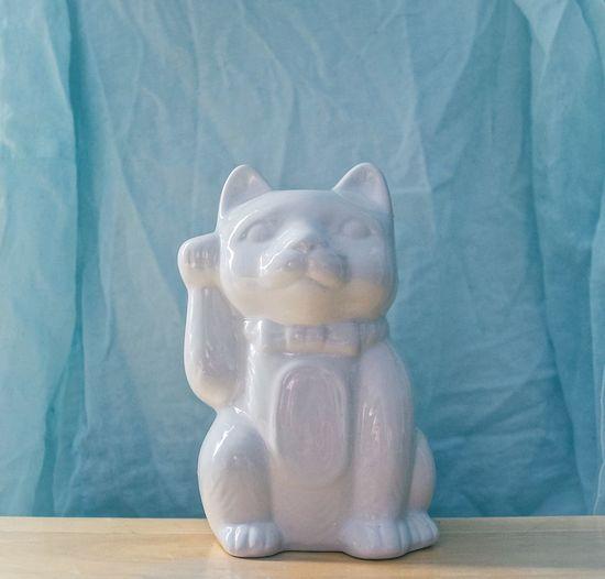 Pastel Power Maneki-neko Manekineko Luck Cat Beckoning Cat Japanese  Ceramic Lucky Cat Talisman Money Cat Happy Cat Prosperity Cat Fortune Cat White Cat Peaceful Pretty Blue Pastel Background Blue Wave