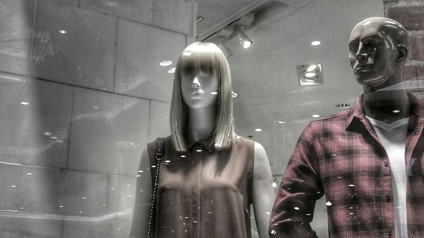 Couple Looking Into The Future Manicane Modeling Blonde Looking Through The Glass Lights