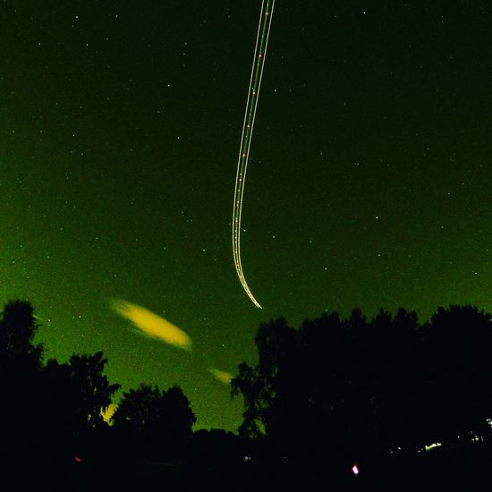 Trace line approaching Gardemoen airport in Norway. Nordlys Nightphotography Lillestrøm
