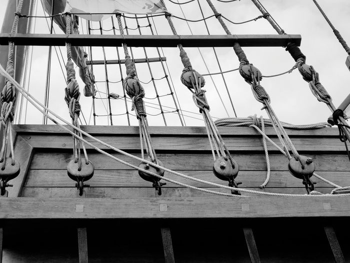 Hanging Sky Rope Close-up Pulley Low Angle View Built Structure Architecture No People Day Outdoors Nature Metal Connection Side By Side Cable Florida Rope Scaffolding Black And White Black And White Photography