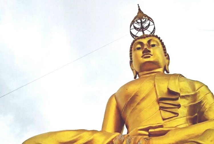 😊😊😊 still beautiful... On top, krabi Thailand Statue Religion Spirituality Sky Cloud - Sky Low Angle View Sculpture Gold Colored Gold One Man Only People Adult Day One Person Only Men Outdoors