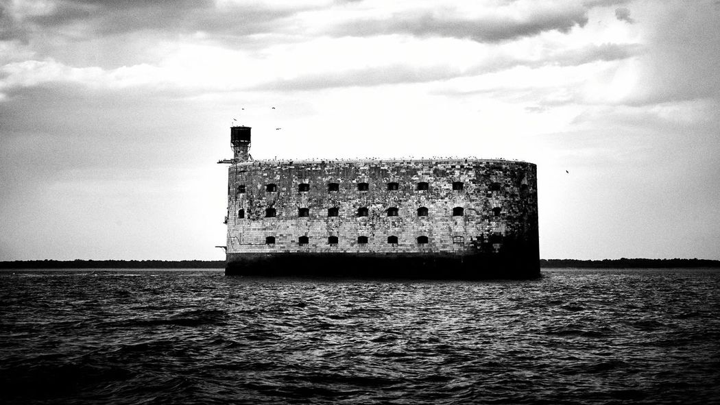 Waterfront Water Built Structure Architecture Sea Ocean France Tourism Travel Travel Destinations Seascape Horizon Over Water Noir Et Blanc Blackandwhite Contrast Black And White Francetourism Fort Boyard
