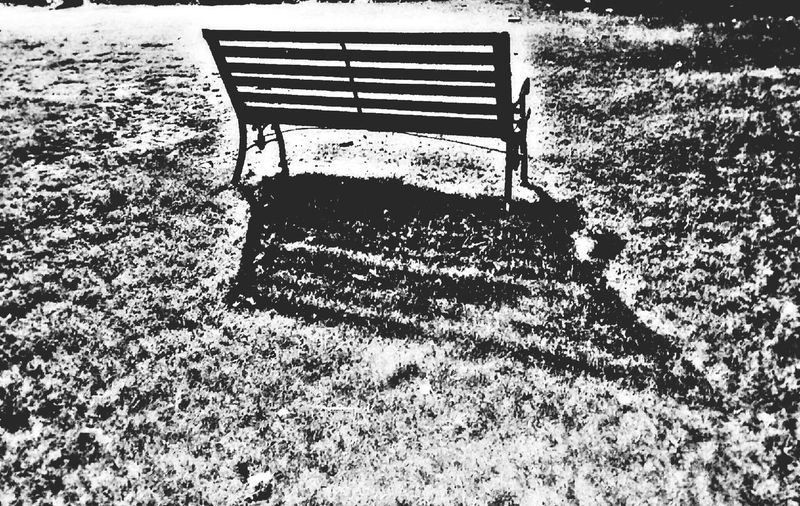 Architecture Outdoors Roadsidephotography 🇮🇳 India No People Non Urban Scene Mobilephotography Backgrounds Object Photography Black And White Photogaphy Lonelyness High Shadow Alone Bench Evening Sight Of A Park