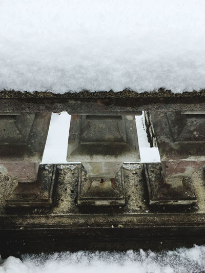 Close-up of window on snow against wall