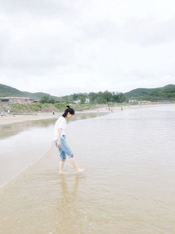 Water Sky Real People One Person Day Full Length Casual Clothing Standing Outdoors Leisure Activity Cloud - Sky Beauty In Nature Tree Mountain Ankle Deep In Water People
