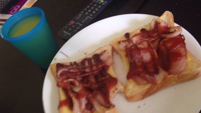 Better Together Love Food nothing better together than bacon and juice 😂👌