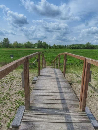 Boardwalk Cloudy Grass Landscape Live For The Story Nature No People Outdoors Perspective Place Of Heart Railing Scenics Sky Travel Destinations Wood Paneling Tranquil Scene Nature On Your Doorstep EyeEm Best Shots in Behrensdorf Germany Perspectives On Nature