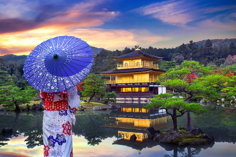 Asian woman wearing japanese traditional kimono at golden pavilion. Kinkakuji Temple in Kyoto, Japan. Architecture Built Structure Sky Nature Water Belief Spirituality Religion Tree Building Exterior Cloud - Sky Plant Building Place Of Worship Travel Destinations No People Outdoors Shrine