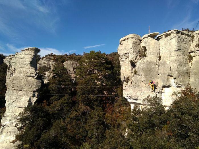 Via Ferrata Climb Alpinism Hiking Adventure Tree Sky Rock Formation Rocky Mountains Cliff Rock Canyon