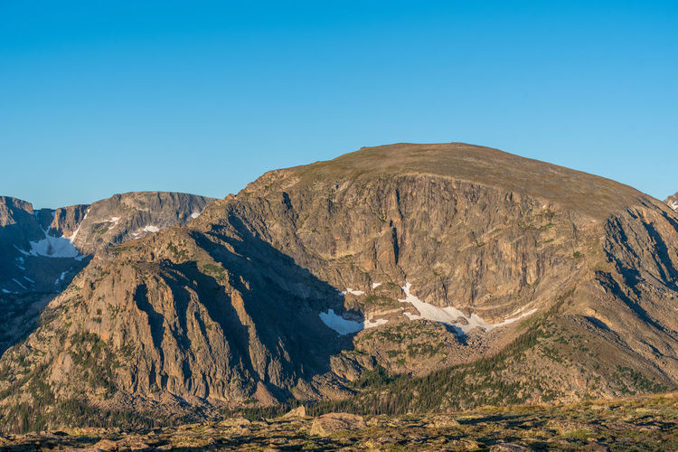 Low angle landscape of trees and mountain top at rocky mountain national park in colorado