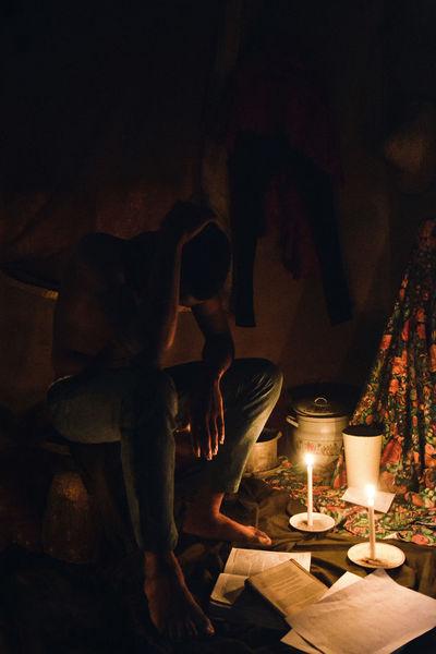Saggio on a mortar. Candles ERA Fine Art Photography Lowlight Man Renaissance Victorian Adeoluosibodu Age Chiaroscuro  Fine Art Flame Mood Period Portrait, Portraiture Sadness Shadows