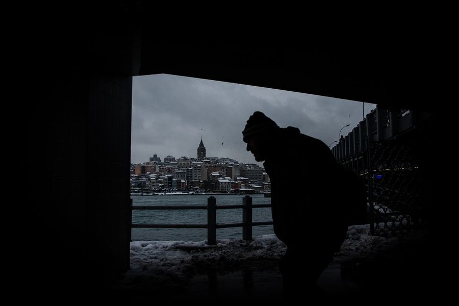 Silhouette City Only Men One Person Galata Snow Winter Istanbul Turkiye Streetphotography Silhouette Shadows & Lights