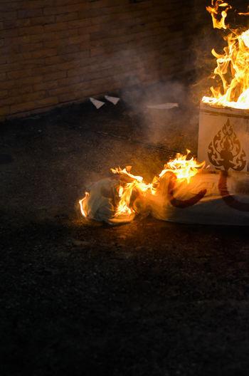 Bonfire on display at night