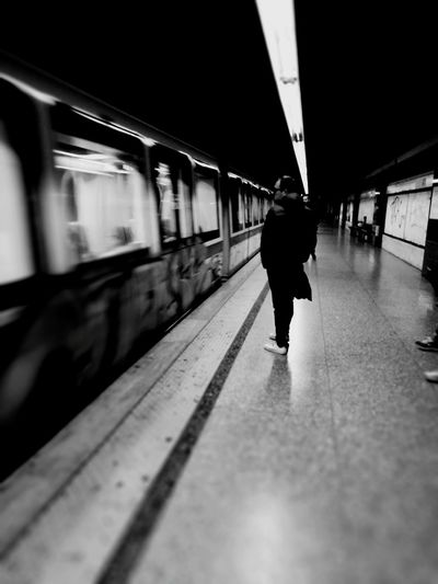 Train - Vehicle Railroad Station Platform Railroad Station Public Transportation Transportation Subway Train Passenger Mode Of Transport Subway Only Men Men People Adults Only One Man Only City On The Move Roma Leica Huawei P9 Leica Lens
