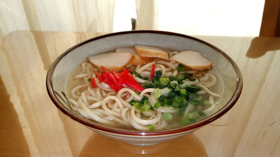 Table Noodles Bowl Food Green Onion Japanese Food Kamaboko Noodle Soup Okinawa Soba Red Ginger