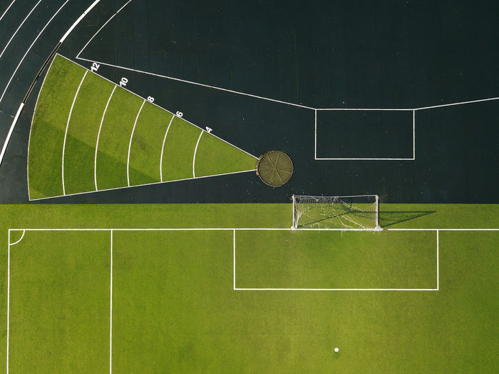 High angle view of playing field