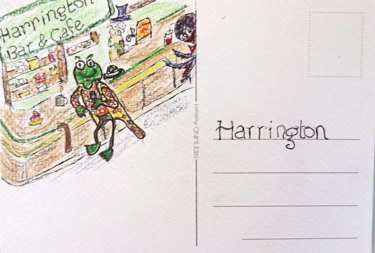 Harrington, type face and character Snbcrea Snbcrea Snbcrea Post Card Drawing - Art Product The Character Persona Font Harrington (c) 2018 Shangita Bose All Rights Reserved Snbcrea Frog Cartoon Cafe Drawing Watercolor Beer