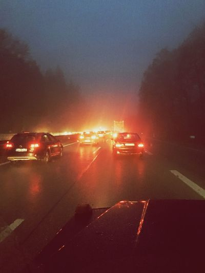 On My Way Home Stop And Go Cars Red Foggy Rainy Day Gapa1516