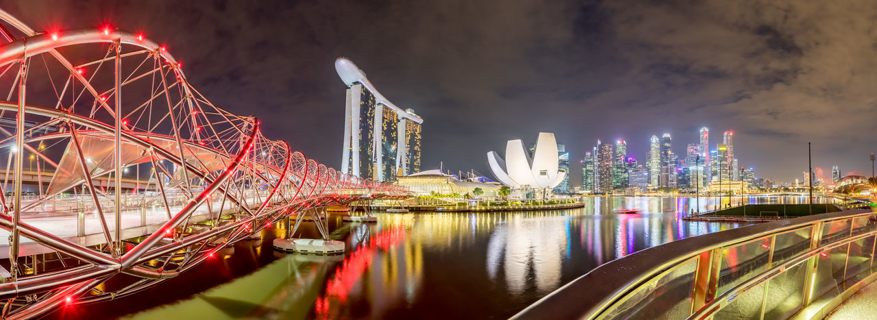 No People ASIA HDR Marina Bay Sands Nightphotography Panorama Singapore Skyline Night EyeEmNewHere An Eye For Travel The Graphic City