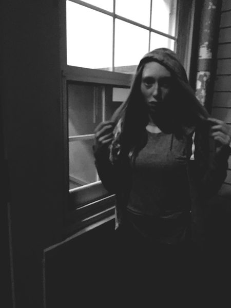 Three Quarter Length Indoors  Window One Person Standing Front View Real People Young Women Young Adult Waiting Lifestyles Day People Adult Black And White Fashion Teenager Girl One Woman Only One Woman Young Adult Portrait Portrait Of A Woman One Young Woman Only Youth