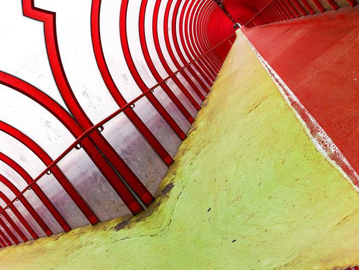 Bridge Tunnel Walkway Covered Green Red Glasgow  Tilted Red No People Day Outdoors Close-up