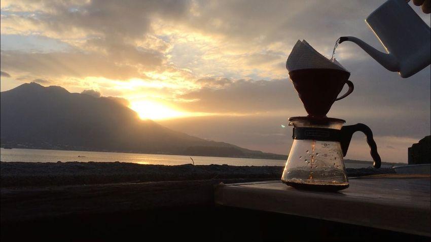 First Sunrise Pourover Sakurajima 桜島 Coffee Sunrise No People Nature Sea Sky Sun Beauty In Nature
