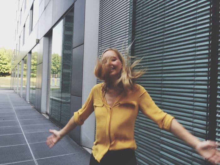 Woman Girl Hair Jumping Happy Joy Fun Urban
