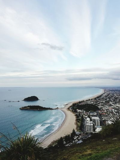 From the top of Mount Maunganui. Travel Destinations Water Sea Beach Sand Sky Horizon Over Water Landscape Cloud - Sky Surf Coastline Wave Seascape Coast Coastal Feature Ocean Shore