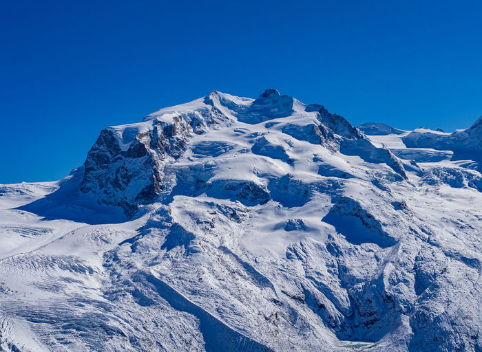 Scenic view of snowcapped mountains against clear blue sky - monte rosa