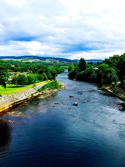 Scotland Scottish Highlands Scotlandsbeauty River River View Riverscape Nature Beauty Beauty In Nature Green Blue Sky Clouds