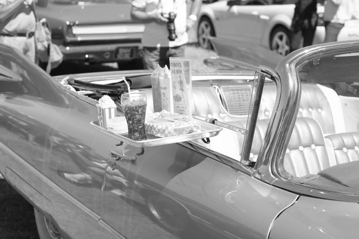 1957 What A Year 57 Chevy Black And White Diner Classic Muscle Classic American Car Drive Through Food And Drink Motor Vehicle Tail Light