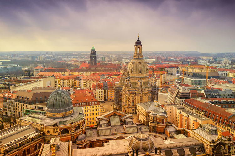 Frauenkirche Dresden Architecture Building Exterior Built Structure Building Sky City Cityscape Religion Place Of Worship Belief Travel Destinations High Angle View Spirituality Dome Nature Day Residential District Tower No People Outdoors TOWNSCAPE Dresden Frauenkirche Frauenkirche Dresden