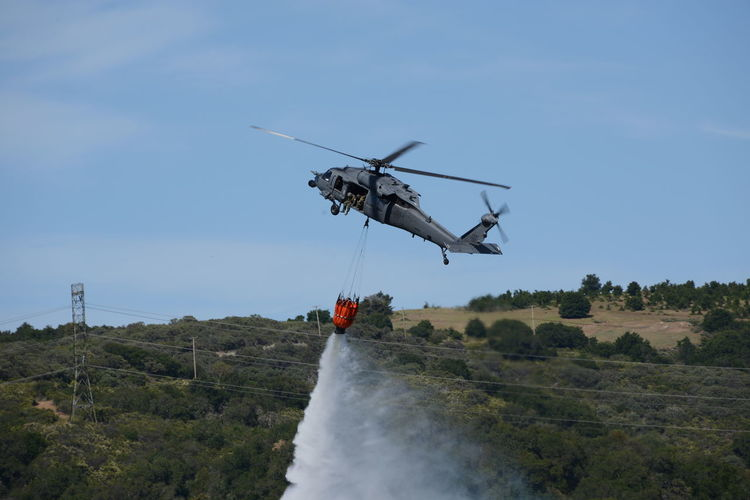 FireFighting  Air Vehicle Clear Sky Day Firefighters Helicopter Nature Outdoors Sky Spraying Water
