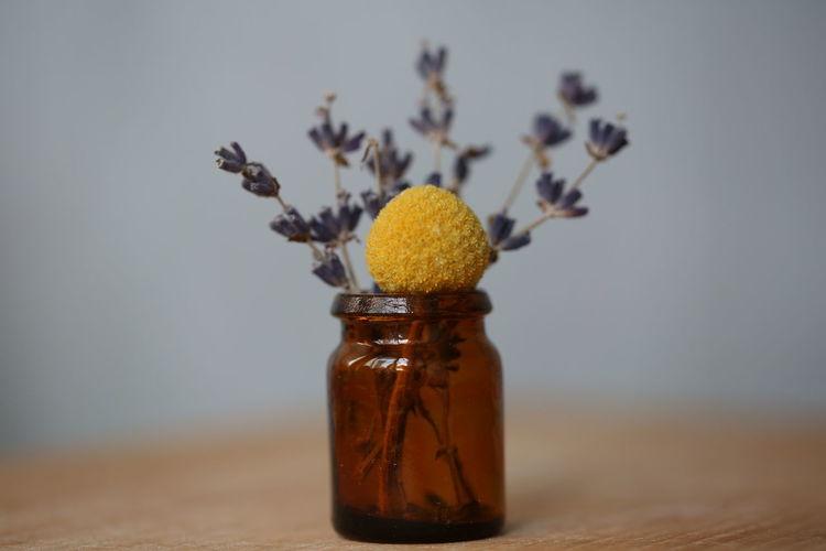 Blue Bouquet Brown Boots Brown Glass Dry Flower  Flowers Lavanda Naturmort No People Simplicity Still Life Yellow