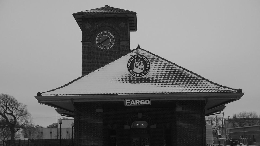 December 19, 2016 / Downtown Fargo Architecture Archival Black And White Building Exterior Built Structure Clear Sky Clock Clock Face Clock Tower Day Downtown Fargo Fargo Minute Hand Monochrome No People North Dakota Outdoors Roof Sky Time Tower