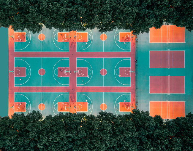 Directly Above Shot Of Playing Field Amidst Trees
