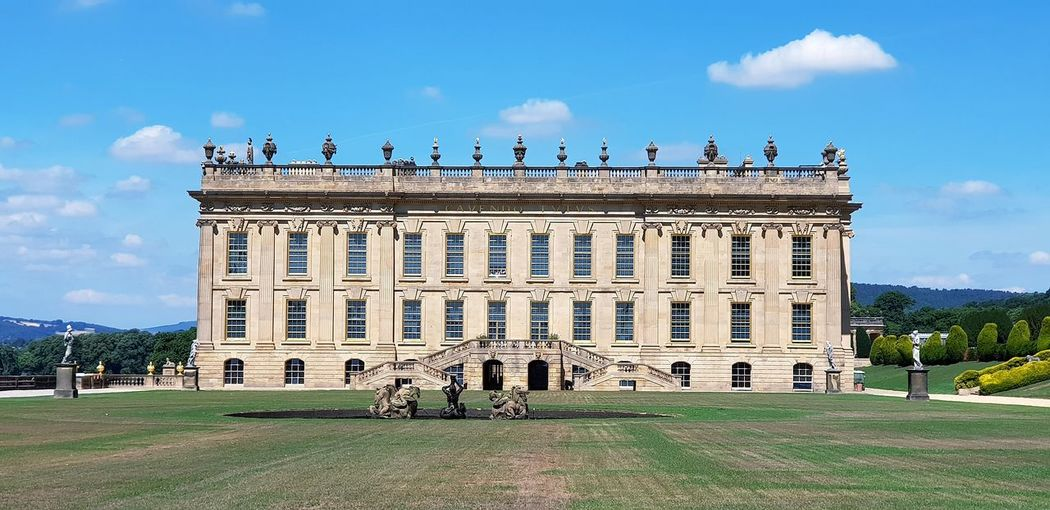 Walking Around Blue Sky Chatsworth House Estate Stately Home Architectural Column History Façade Sky Architecture