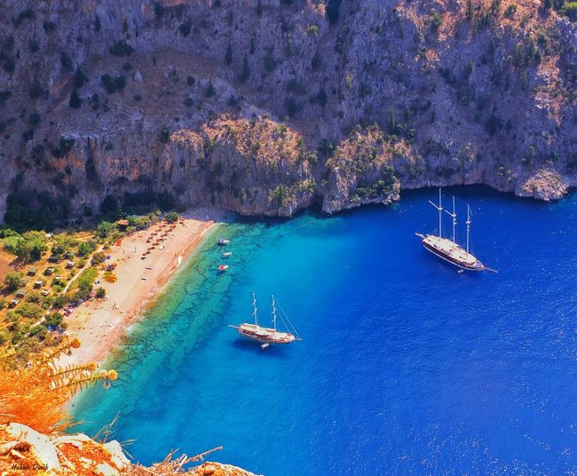 Transportation Nautical Vessel Water Boat Mode Of Transport High Angle View Sea Blue Moored Sailing Nature Aerial View Tranquility Scenics Harbor Ship Tranquil Scene Beauty In Nature Wake - Water Day Nerede Butterflyvalley Fethiye Mugla Fethiye Turkey