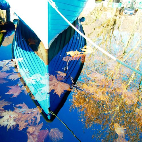 Reflections on a bright winter day Boat Bright Day Lake Leaves Moored Mooring Nautical Vessel No People Outdoors Reflection Rope Sky Water