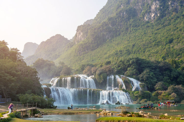 Ban Gioc waterfall vietnam, high angle view Ban Gioc Waterfall Drone  Green Indochina Panorama Tourist Travel Vietnam Border Cao Bằng Dronephotography Famous Place Langer Panoramic Landscape Panoramic Photography Sunset Thác Bản Giốc Tourism