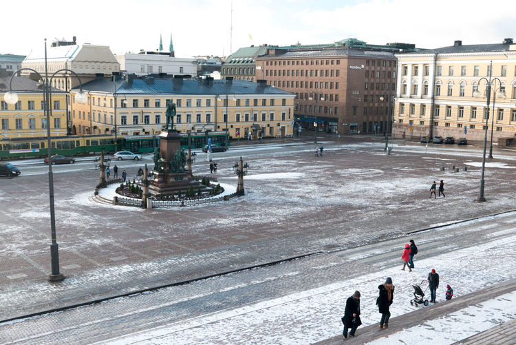 High Angle View Of Helsinki Senate Square In City During Winter