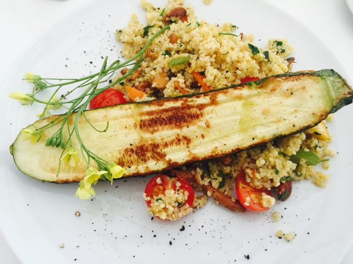 Close-up Cooked Courgette Dinner Food Freshness Healthy Eating Lunch Main Course Meal Millet Plate Ready-to-eat Serving Size Temptation Tomato Vegetable