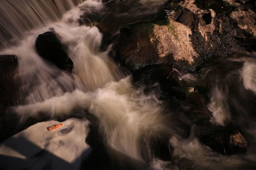 Rubbish in the water Waterfall Water flowing water Flood