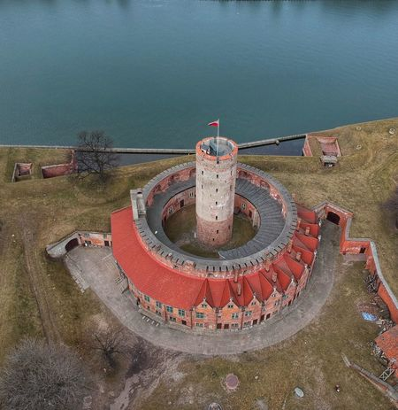 Vistula Stronghold Fortress Gdansk (Danzig) Twierdza Wisloujscie From Above  Birdeyeview Water Concentric City High Angle View Circle Architecture Building Exterior Sky Built Structure Historic Urban Scene Riverbank Tower Office Building River Building Residential Structure