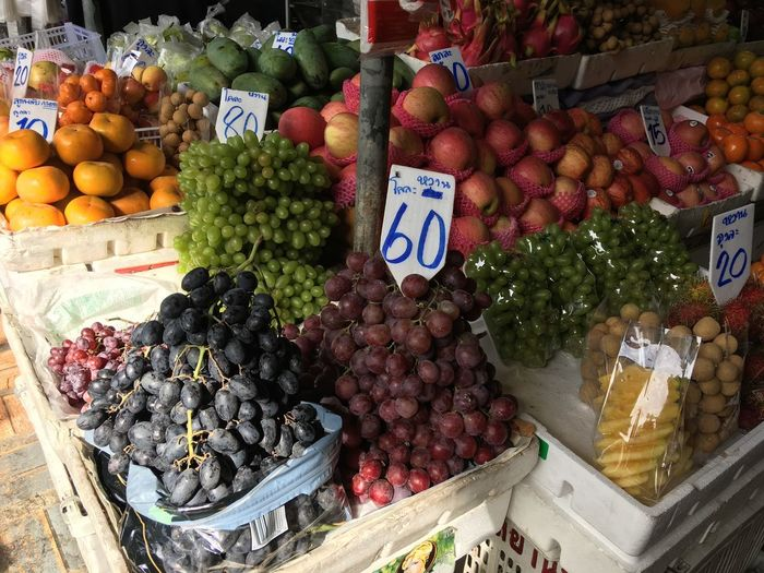 thai fruits Price Tags Bangkok Thailand Friuts Fruit Market Price Tag Market Stall Variation Freshness Choice Food And Drink Food For Sale Day Grape Large Group Of Objects Vegetable Healthy Eating