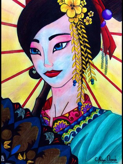 Very first drawing I made using prismacolor color pencils Drawing Geisha Japan